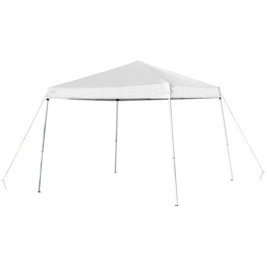 8'x8' White Outdoor Pop Up Event Slanted Leg Canopy Tent with Carry Bag