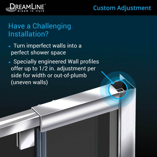 Flex 30 in. D x 60 in. W x 74 3/4 in. H Semi-Frameless Shower Door in Brushed Nickel with Left Drain Biscuit Base Kit