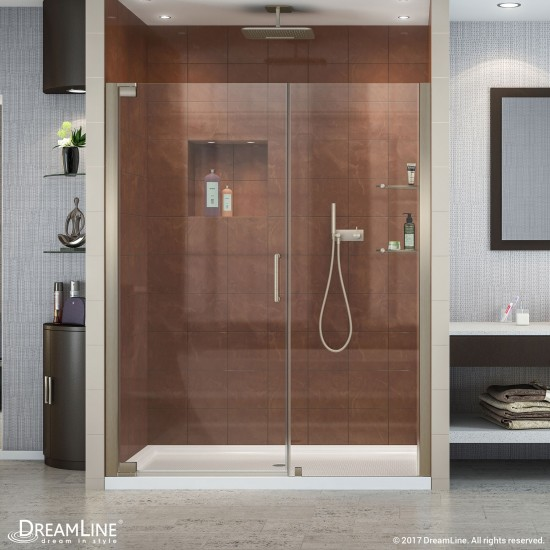 Elegance 54 1/2 - 56 1/2 in. W x 72 in. H Frameless Pivot Shower Door in Brushed Nickel