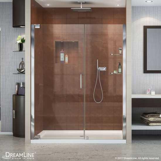 Elegance 59 3/4 - 61 3/4 in. W x 72 in. H Frameless Pivot Shower Door in Chrome