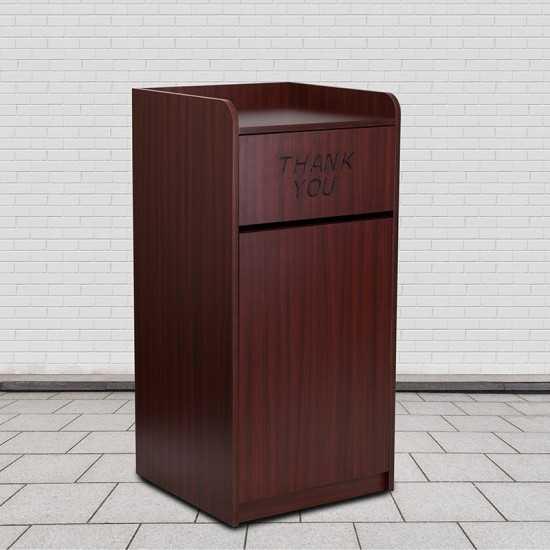 Wood Tray Top Receptacle in Mahogany