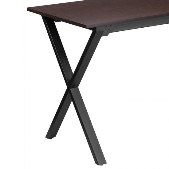 47.5''W x 23.75''D Walnut Computer Desk with Black Metal Frame