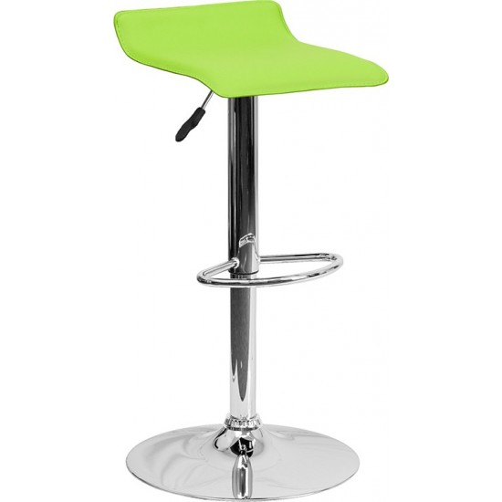 Contemporary Green Vinyl Adjustable Height Barstool with Solid Wave Seat and Chrome Base