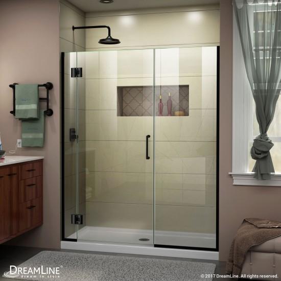 Unidoor-X 54 1/2-55 in. W x 72 in. H Frameless Hinged Shower Door in Satin Black