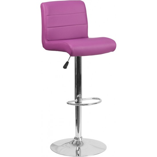 Contemporary Purple Vinyl Adjustable Height Barstool with Rolled Seat and Chrome Base