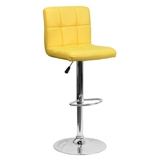 Contemporary Yellow Quilted Vinyl Adjustable Height Barstool with Chrome Base
