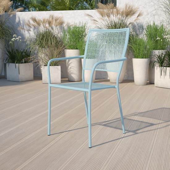 Commercial Grade Sky Blue Indoor-Outdoor Steel Patio Arm Chair with Square Back