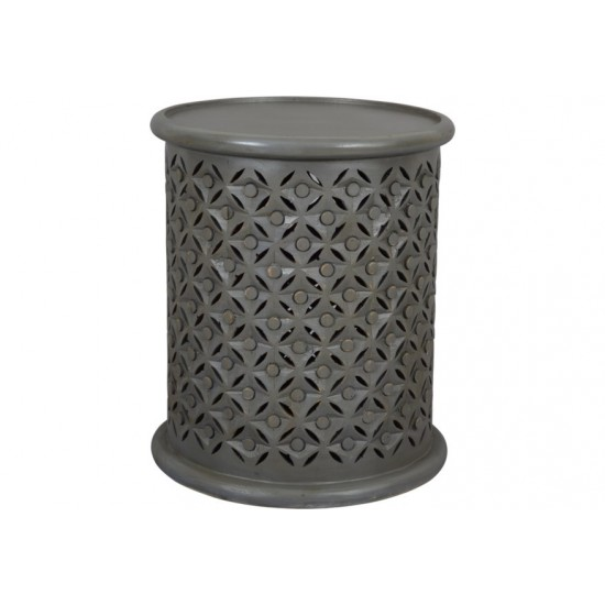 Decker Small Distressed Hardwood Drum End Table