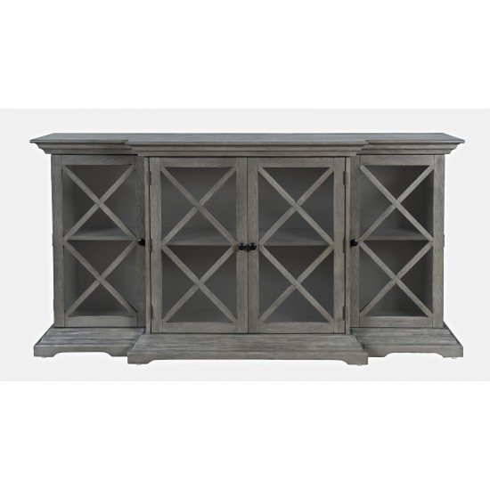 """Carrington Contemporary Wire Brushed 70"""" Breakfront Accent Cabinet"""