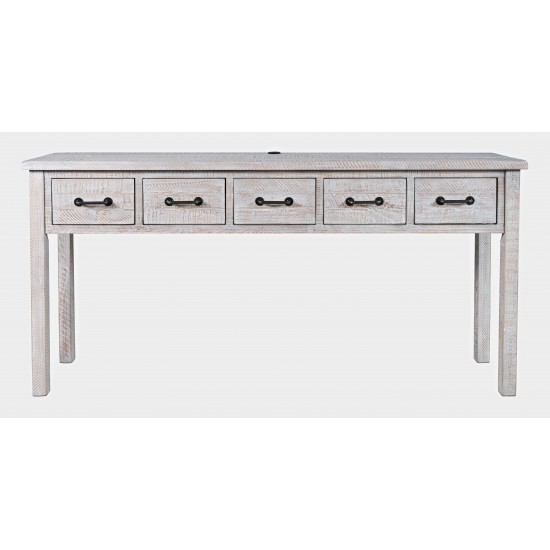 """North Coast 67"""" Washed Finish Five Drawer USB Charging Console Table"""