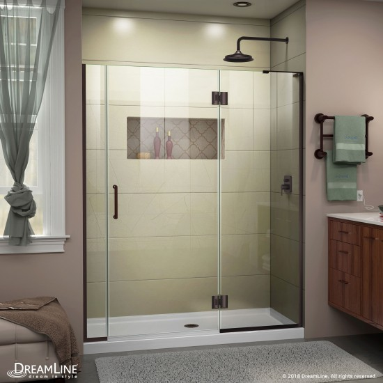 Unidoor-X 53-53 1/2 in. W x 72 in. H Frameless Hinged Shower Door in Oil Rubbed Bronze