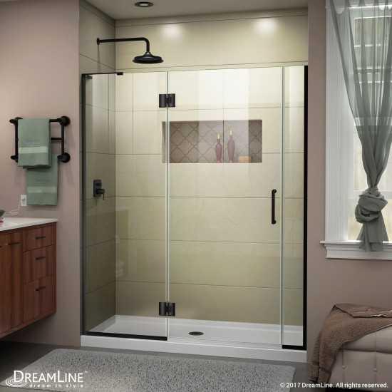 Unidoor-X 57-57 1/2 in. W x 72 in. H Frameless Hinged Shower Door in Satin Black