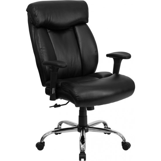 Big & Tall 400 lb. Rated Black LeatherSoft Executive Ergonomic Office Chair with Full Headrest & Arms
