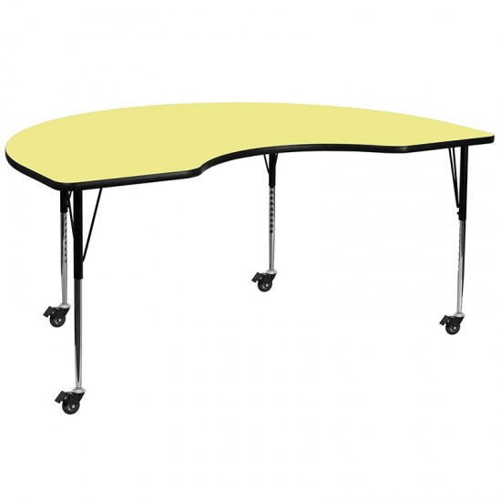 Mobile 48''W x 72''L Kidney Yellow Thermal Laminate Activity Table - Standard Height Adjustable Legs