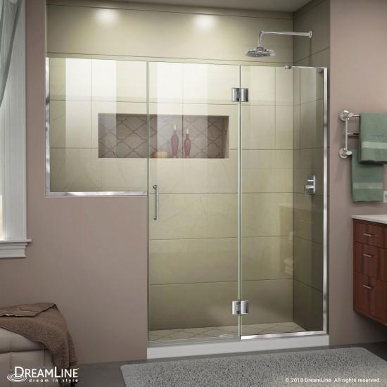 Unidoor-X 71-71 1/2 in. W x 72 in. H Frameless Hinged Shower Door in Chrome