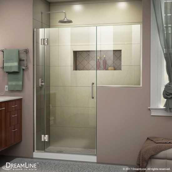 Unidoor-X 68-68 1/2 in. W x 72 in. H Frameless Hinged Shower Door in Brushed Nickel