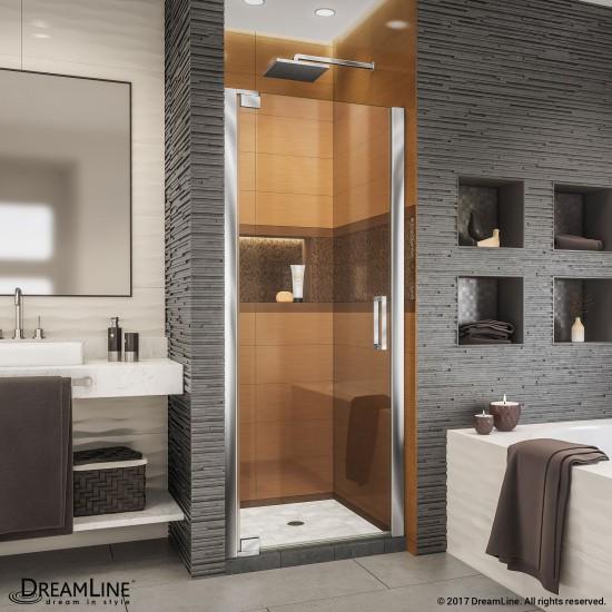 Elegance-LS 35 3/4 - 37 3/4 in. W x 72 in. H Frameless Pivot Shower Door in Chrome