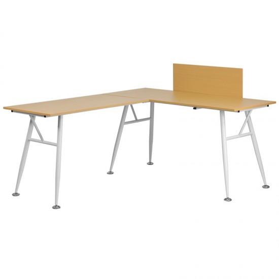 Beech Laminate L-Shape Computer Desk with White Metal Frame
