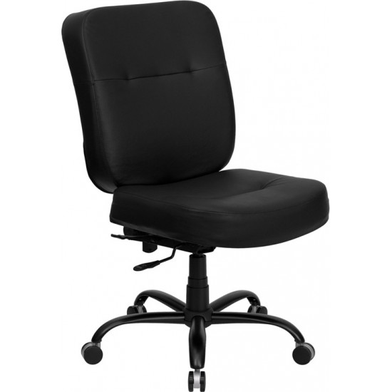 Big & Tall 400 lb. Rated Black LeatherSoft Executive Swivel Ergonomic Office Chair with Rectangle Back