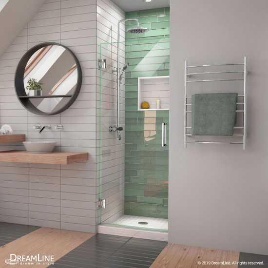 Unidoor-LS 26 in. W x 72 in. H Frameless Hinged Shower Door in Chrome
