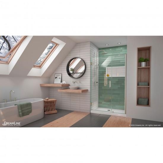 Unidoor-LS 46-47 in. W x 72 in. H Frameless Hinged Shower Door with L-Bar in Brushed Nickel
