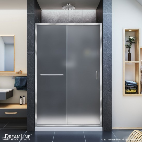 Infinity-Z 36 in. D x 48 in. W x 74 3/4 in. H Frosted Sliding Shower Door in Chrome and Center Drain White Base