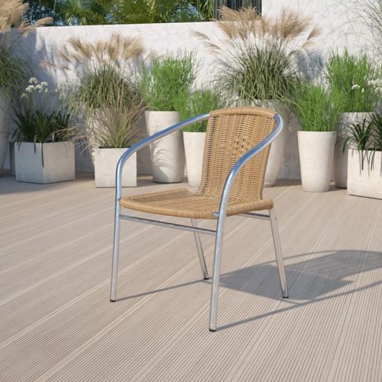 Commercial Aluminum and Beige Rattan Indoor-Outdoor Restaurant Stack Chair