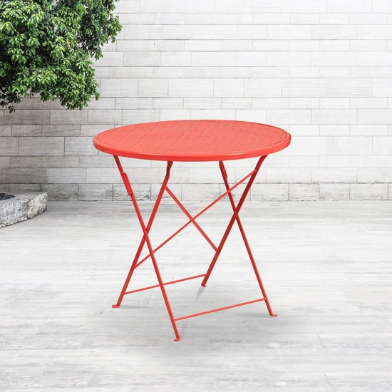 "Commercial Grade 30"" Round Coral Indoor-Outdoor Steel Folding Patio Table"