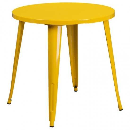 """Commercial Grade 30"""" Round Yellow Metal Indoor-Outdoor Table"""