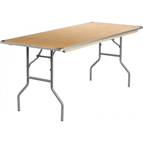 6-Foot Rectangular HEAVY DUTY Birchwood Folding Banquet Table with METAL Edges and Protective Corner Guards