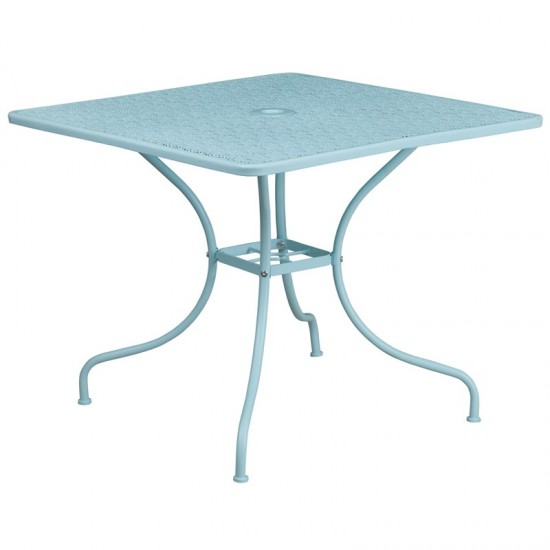 "Commercial Grade 35.5"" Square Sky Blue Indoor-Outdoor Steel Patio Table"