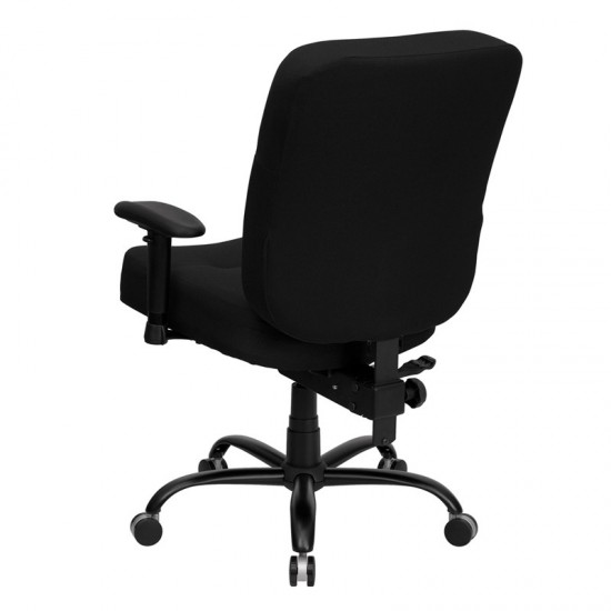 Big & Tall 400 lb. Rated Black Fabric Rectangular Back Ergonomic Office Chair with Arms