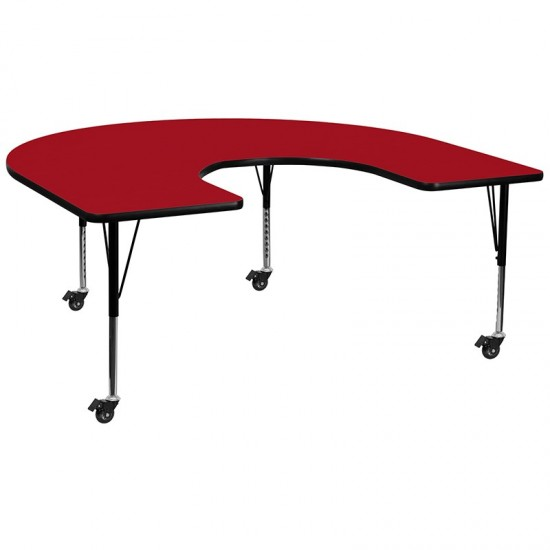Mobile 60''W x 66''L Horseshoe Red Thermal Laminate Activity Table - Height Adjustable Short Legs