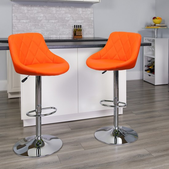Contemporary Orange Vinyl Bucket Seat Adjustable Height Barstool with Diamond Pattern Back and Chrome Base