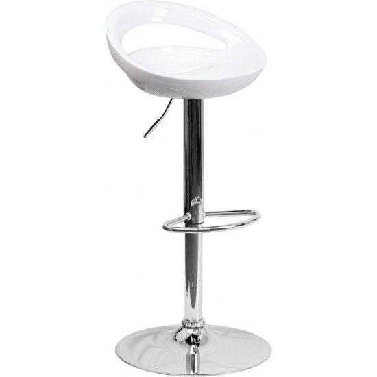 Contemporary White Plastic Adjustable Height Barstool with Rounded Cutout Back and Chrome Base