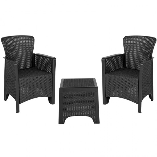 Dark Gray Faux Rattan Plastic Chair Set with Matching Side Table