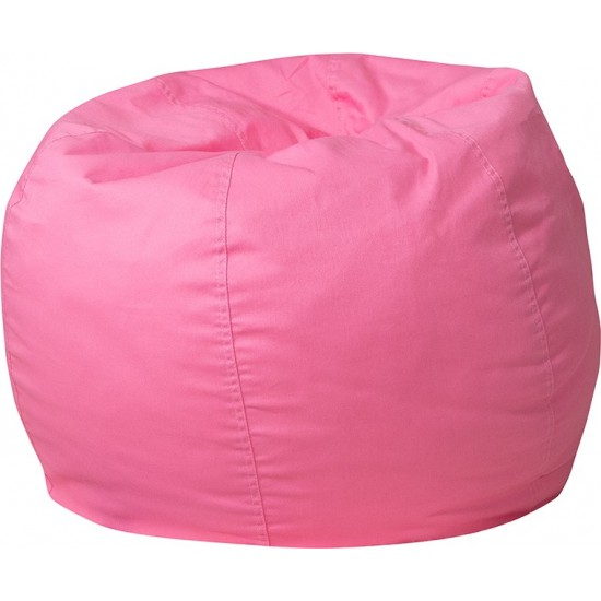 Small Solid Light Pink Bean Bag Chair for Kids and Teens