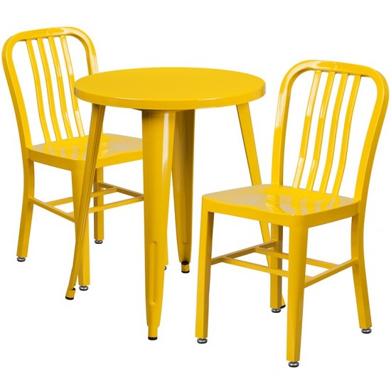 """Commercial Grade 24"""" Round Yellow Metal Indoor-Outdoor Table Set with 2 Vertical Slat Back Chairs"""