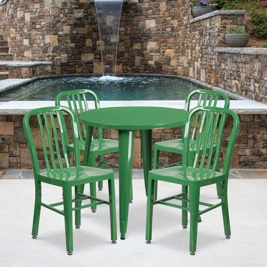"""Commercial Grade 30"""" Round Green Metal Indoor-Outdoor Table Set with 4 Vertical Slat Back Chairs"""