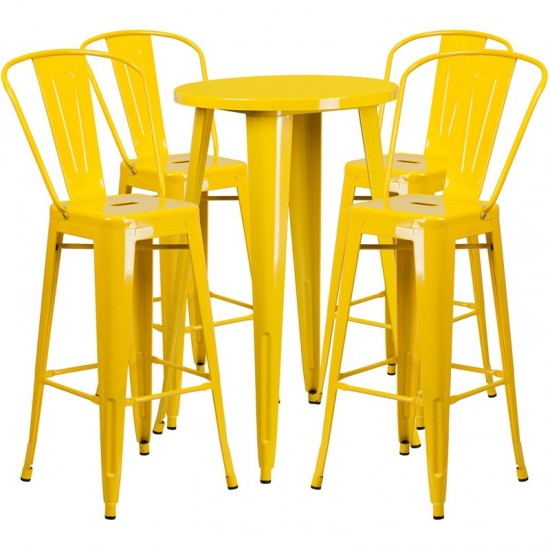 """Commercial Grade 24"""" Round Yellow Metal Indoor-Outdoor Bar Table Set with 4 Cafe Stools"""