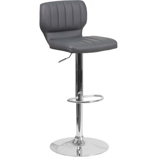 Contemporary Gray Vinyl Adjustable Height Barstool with Vertical Stitch Back and Chrome Base
