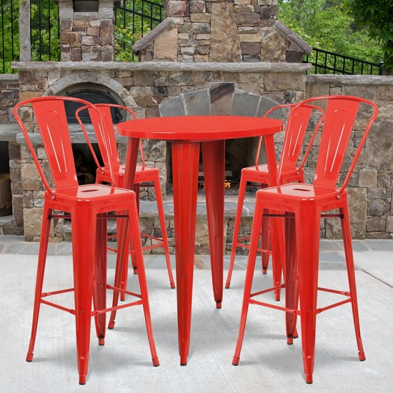 """Commercial Grade 30"""" Round Red Metal Indoor-Outdoor Bar Table Set with 4 Cafe Stools"""
