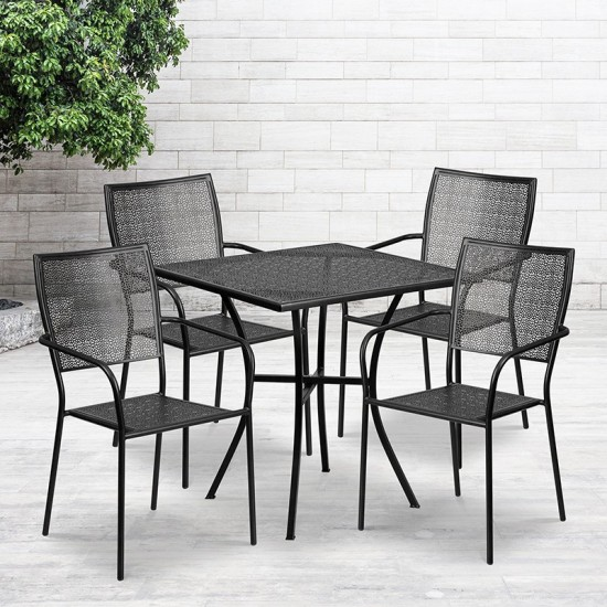 """Commercial Grade 28"""" Square Black Indoor-Outdoor Steel Patio Table Set with 4 Square Back Chairs"""