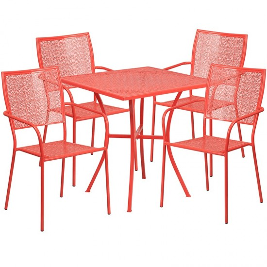 """Commercial Grade 28"""" Square Coral Indoor-Outdoor Steel Patio Table Set with 4 Square Back Chairs"""