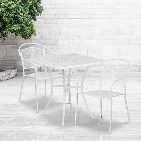 """Commercial Grade 28"""" Square White Indoor-Outdoor Steel Patio Table Set with 2 Round Back Chairs"""