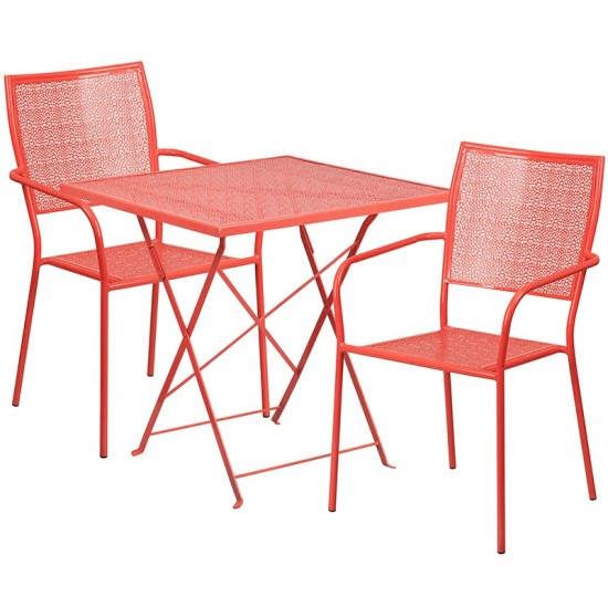 """Commercial Grade 28"""" Square Coral Indoor-Outdoor Steel Folding Patio Table Set with 2 Square Back Chairs"""