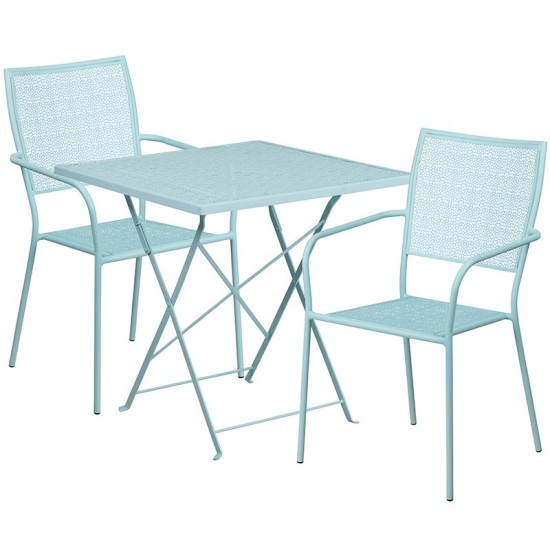 """Commercial Grade 28"""" Square Sky Blue Indoor-Outdoor Steel Folding Patio Table Set with 2 Square Back Chairs"""