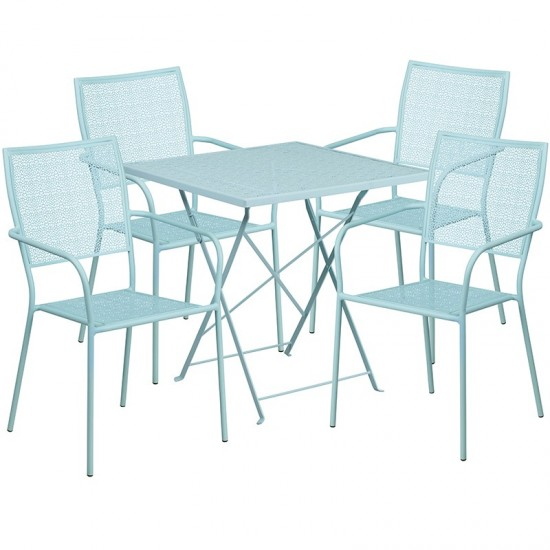 """Commercial Grade 28"""" Square Sky Blue Indoor-Outdoor Steel Folding Patio Table Set with 4 Square Back Chairs"""