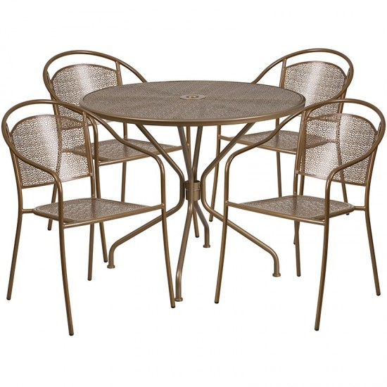 """Commercial Grade 35.25"""" Round Gold Indoor-Outdoor Steel Patio Table Set with 4 Round Back Chairs"""