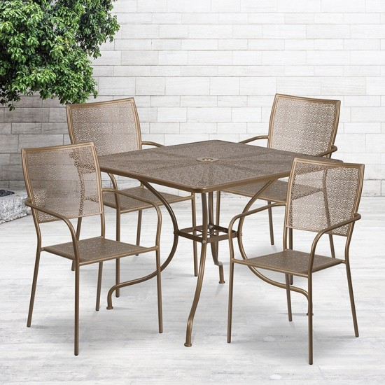 """Commercial Grade 35.5"""" Square Gold Indoor-Outdoor Steel Patio Table Set with 4 Square Back Chairs"""